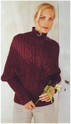 """Узорчатый пуловер с рукавами  """"летучая мышь """" ."""