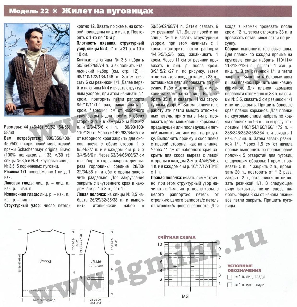 Схема вязания спицами мужского жилет